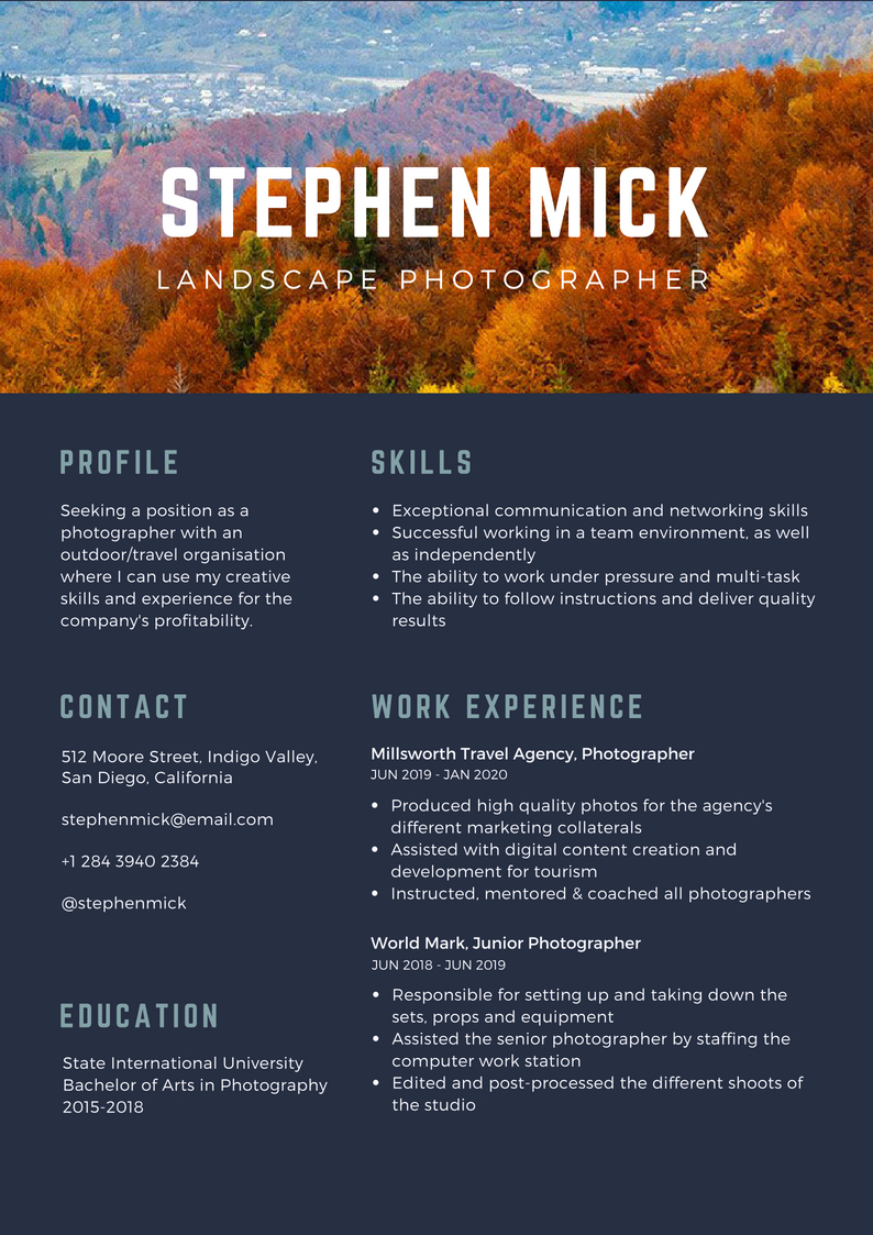 What To Include In Contact Information For A Photographer Resume